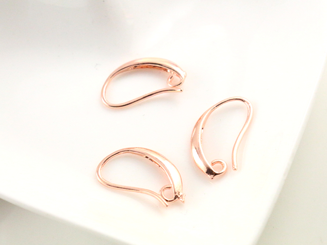 13x19mm 20pcs High Quality Rose Gold Colors Plated Brass French Earring Hooks Wire Settings Base Settings Whole Sale (L3-45)
