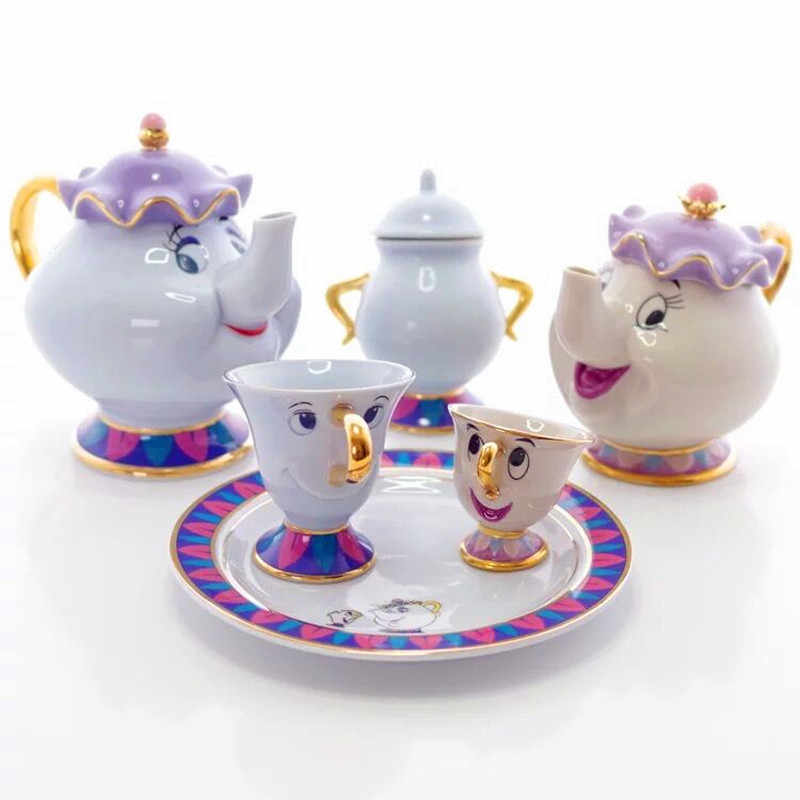 Flash Sale Cartoon Beauty and the beast Tea set Ceramic Teapot tea cup with Tray Mrs Potts Chip Tea Pot Cup lovely Birthday Gift