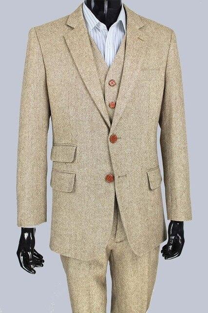 07242eacbc0 wool Classic Tweed Retro gentleman style Men custom made suit tailor made  slim fit mens 3