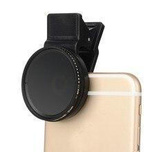 Trasporto Libero Zomei 37 Millimetri Densità Neutra Regolabile Clip on ND2 ND400 Del Telefono Camera Lens Filter per Il Iphone Huawei Samsung android Ios Mobile