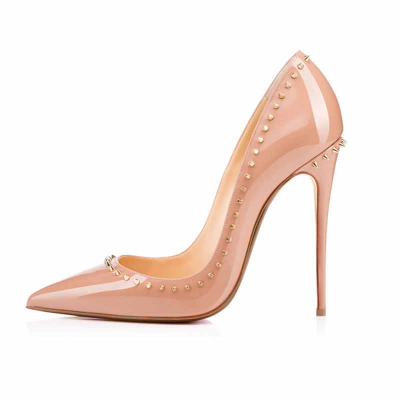Arden Furtado 2019 sexy hoge hakken 12 cm schoenen voor vrouw stiletto naakt party schoenen met studs klinknagels pompen grote maat 44 45