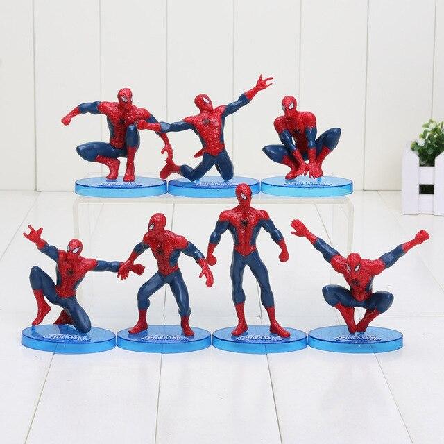 7 pçs/set 6-11 cm Figura de Ação de Super-heróis Vingadores Homem Aranha Spiderman Brinquedos Modelo