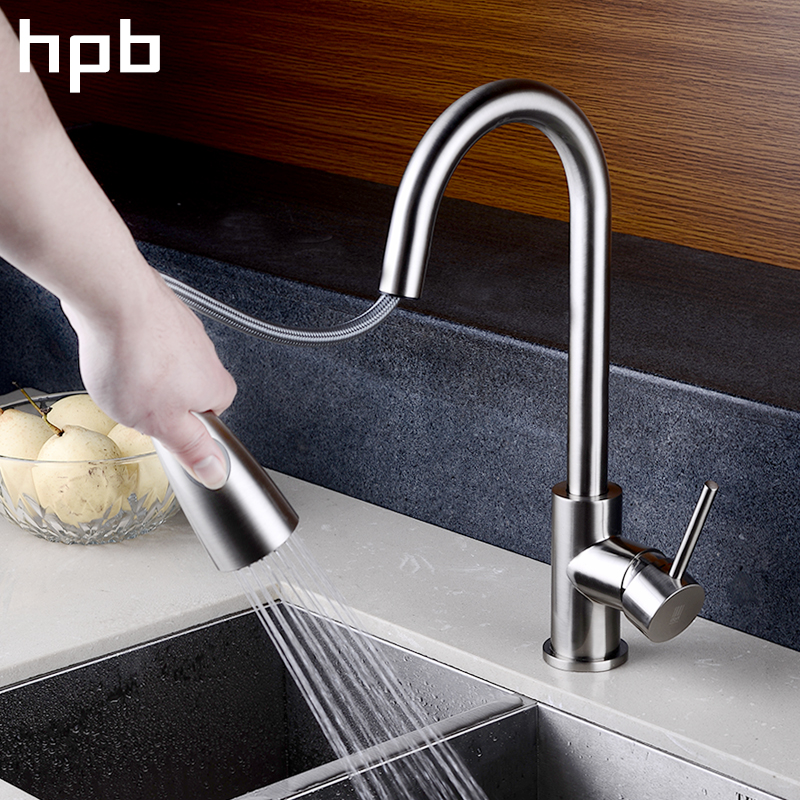 HPB Pull Out Kitchen Faucet Mixer Tap Rotatable Single Handle Sink Faucet Brass Chrome Brushed Finish Hot and Cold Water HP4104 цена и фото