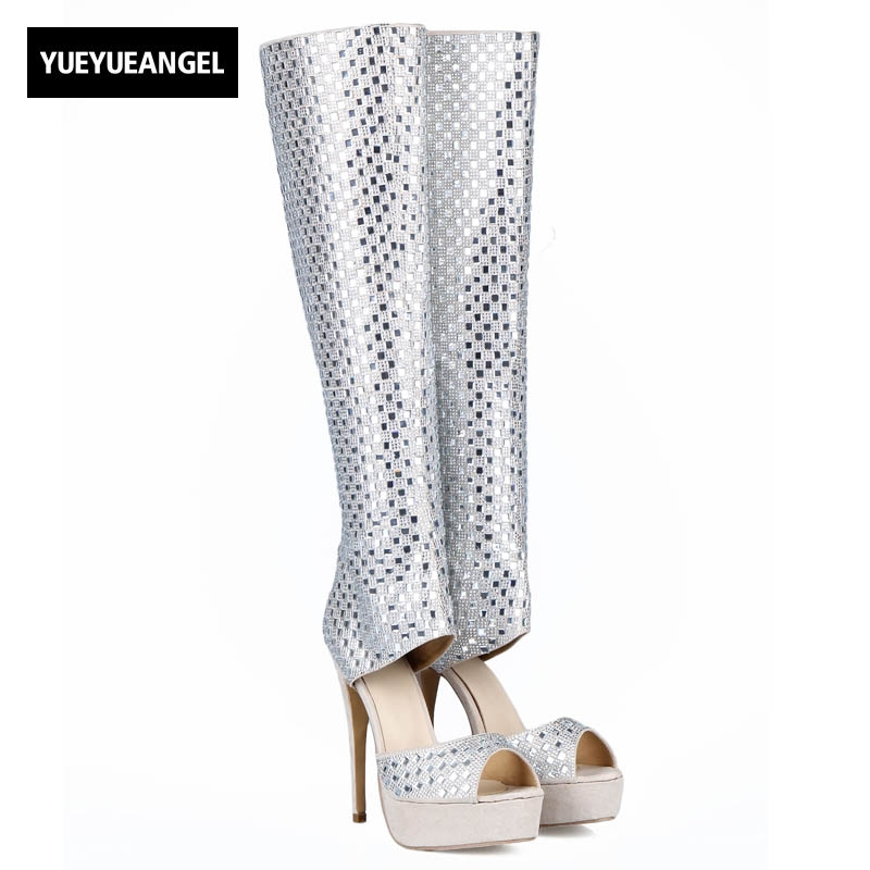 2018 New Sexy Women High Heel Peep Toe Motorcycle Boots Back Zipper Knee High Shoes Female Crystal Platform Silver Plus Size 41 alfani new black women s size small s mesh back high low ribbed blouse $59 259