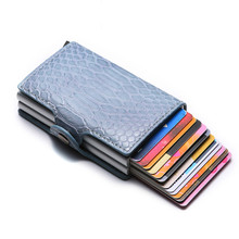 BYCOBECY New Anti Thief RFID Credit ID Card Holder Men and Women PU Leather Metal Wallet Card Holder Credit Card Case Pocket bycobecy arrival pu leather credit card holders aluminum women and men 2019 new vintage id wallets high quality card holder rfid