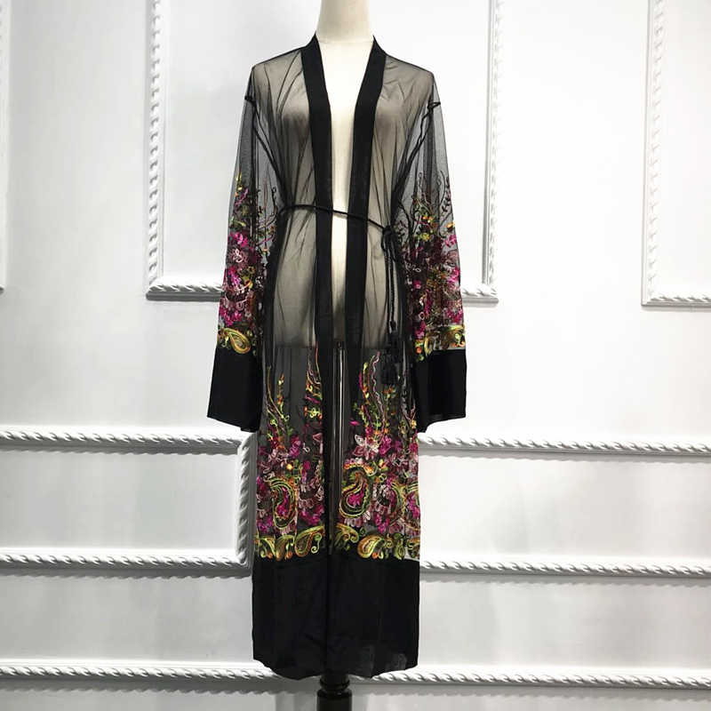 Plus Size Lange Shirt Vrouwen Kimono Plage Mujer 2020 Boho Bloemen Borduren Chiffon Mesh Blouse Vest Kleding Roupas Feminina