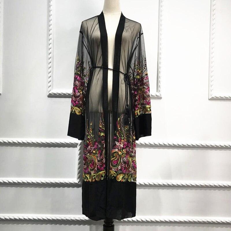 Plus Size Long Kimono Mujer 2019 Sexy Abaya Muslim Women Floral Embroidery Chiffon Mesh Cardigan Blouse Roupas Feminina Clothing