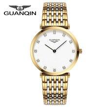 2016 Новый Модный бренд GUANQIN Часы Женщины Одеваются Часы Золото Полный Стали Кварцевые Наручные Часы женские Браслет Relojes Mujer