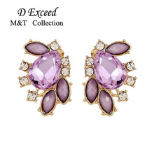 Exquisite Upscale Statement Earrings Stellux CZ gold color Crystal Stud Earrings For Women Jewelry Wedding Brincos Wholesale(China)