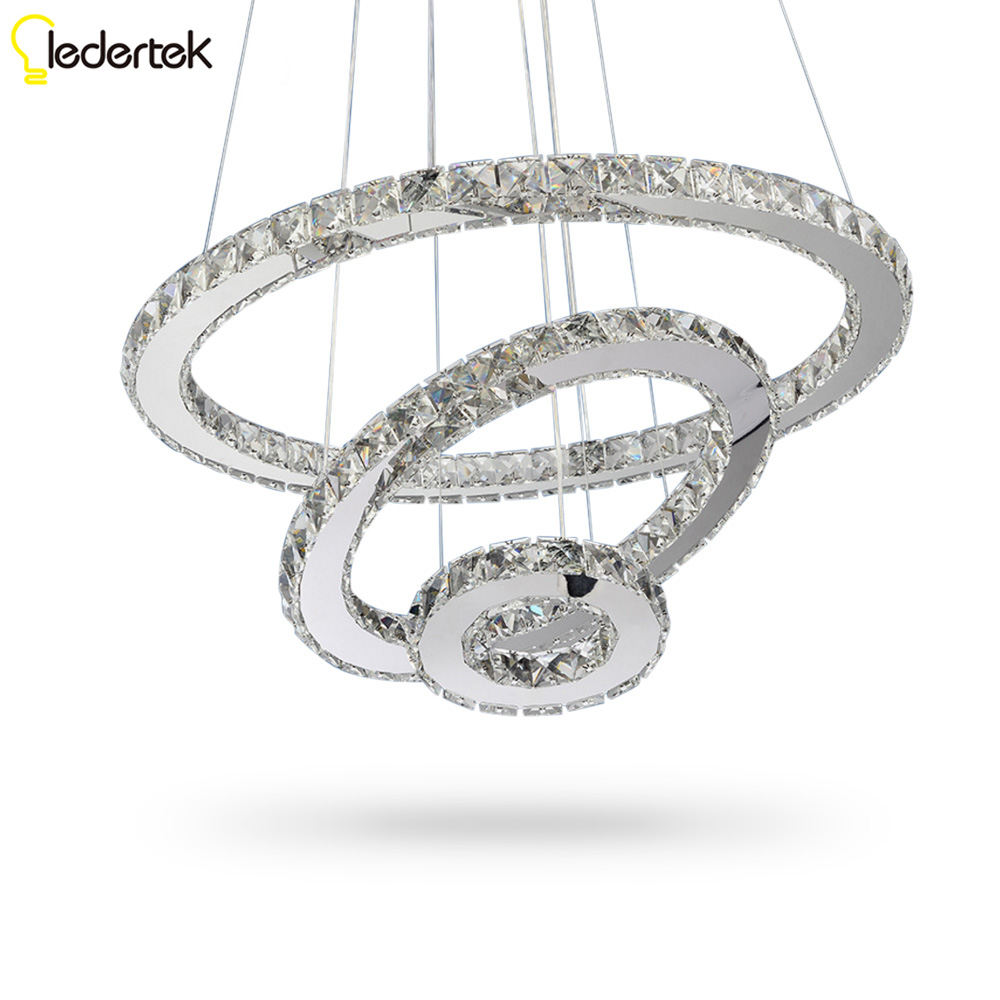 LEDERTEK LED Crystal Chandelier Lights Cristal Lustre Chandeliers Lighting Pendant Hanging Ceiling Fixtures For Home Living Room modern led crystal chandelier lights living room bedroom lamps cristal lustre chandeliers lighting pendant hanging wpl222