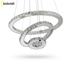 Фотография LEDERTEK LED Crystal Chandelier Lights Cristal Lustre Chandeliers Lighting Pendant Hanging Ceiling Fixtures For Home Living Room
