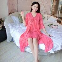 Глубокий v-образный вырез Женская атласная кружевная ночная рубашка с коротким рукавом женские шелковые одежда для сна Ночное платье + верх...