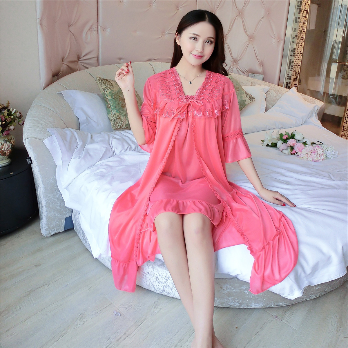 Deep V Neck Women Satin Nightgown Lace Sleepwear Half Sleeve Ladies Silk Nightwear Sleep Wear Night Gown Dress + Outwear