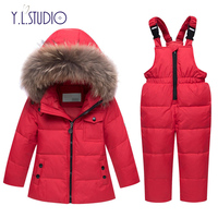 Snowsuit Winter Jacket Baby Boy Girl Parka Coat Down Jackets For Little Girls Overalls 2018 Children Clothing Set Outfits