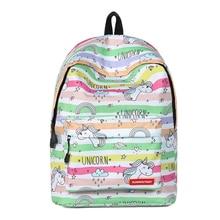 Mochila Escolar Feminina Backpack School Bag For Teenager Girl Reduce Burden Unicorn Printed Bookbag Waterproof Backpacks Female недорого