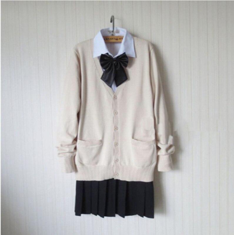 Japonais femmes JK étudiant chandail Cardigan école uniforme jupe arc ensemble femmes école uniforme complet tenue nouveau S, M, L, XL, XXL, XXXL