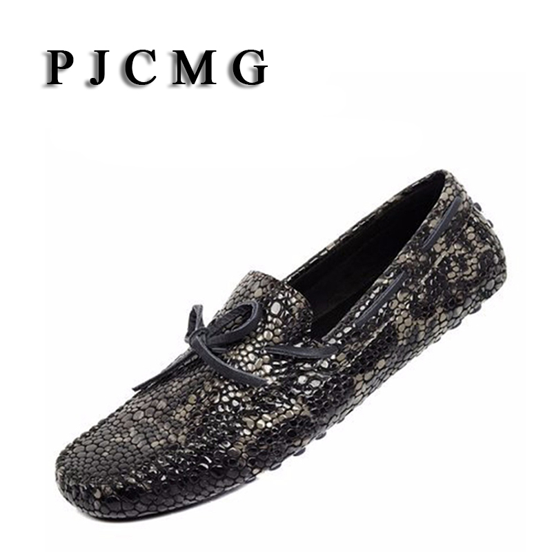 PJCMG New Men Serpentine Loafer Breathable Trendy Genuine Leather Slip-on Loafers Vintage Style Men Driving Casual Flat Shoes pjcmg new crocodile moccasins men genuine embossed leather breathable lazy casual flats loafers driving business men flat shoes