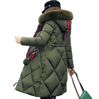2017 New Women Winter Jacket Casual Solid Hooded Fur Collar Thick Long Women Parkas Hooded Female