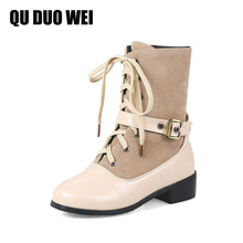 QUDUOWEI 2018 Women Spring Autumn Boots High Top Square Heels Motorcycle Boots Woman Buckle Black Beige Platform Shoes Big Size