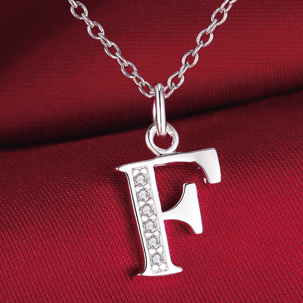 Letter F bling zircon silver plated Necklace New Sale silver necklaces & pendants /SVNZZFLK GCMHIMMQ