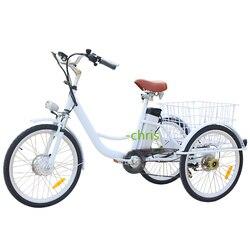 T01A biały kolor śliczne 3 koła trójkołowy 250w silnik elektryczny 6 prędkości rower trzykołowy dla dorosłych rower trójkołowy we francji w Roboty kuchenne od AGD na