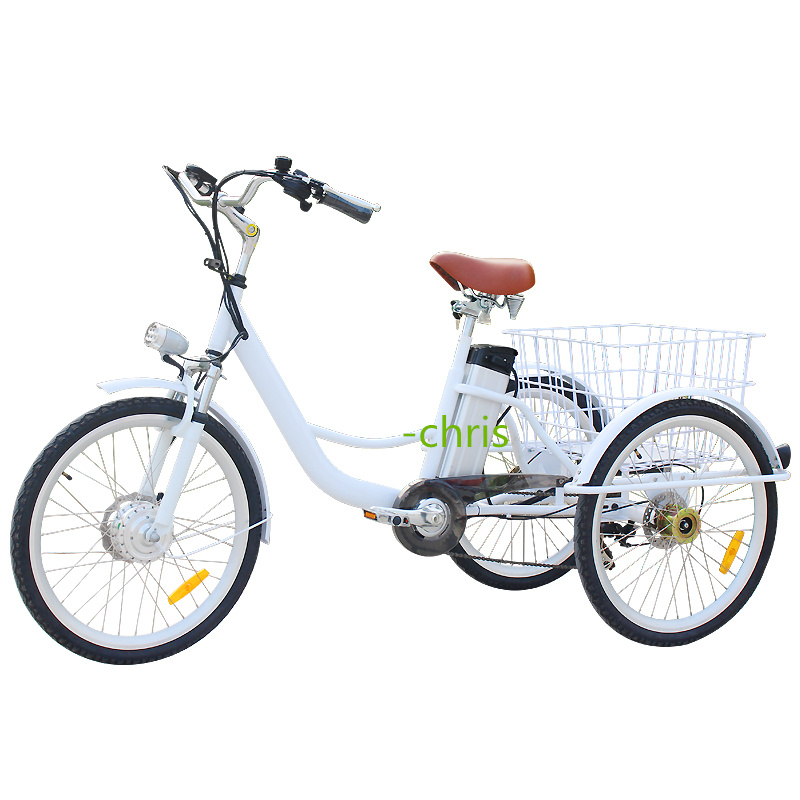 T01A White Color Cute 3 Wheels Tricycle 250w Motor Electric 6 Speed Adult Tricycle Bike Tricycle  In France