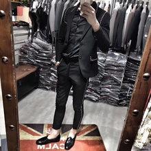 2019 anzug anzug Britischen stil hairstylist dünne klage zwei stücke club vernietet jacke mode M-3XL! Singerwear