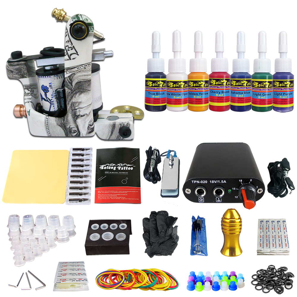 Hybrid Complete Tattoo Coil Machine Kit For Liner Shader Power Supply Foot Pedal Needles Grip Tips Tattoo Body&Art TK105-34 2017 pro complete tattoo machine kit set 2pcs coil tattoo machine gun power supply needles grips tips footswitch for body art