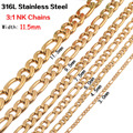 Men Gold Tone Width 9.5mm Stainless Steel large size Necklace Or Bracelet Length 8-30 inches