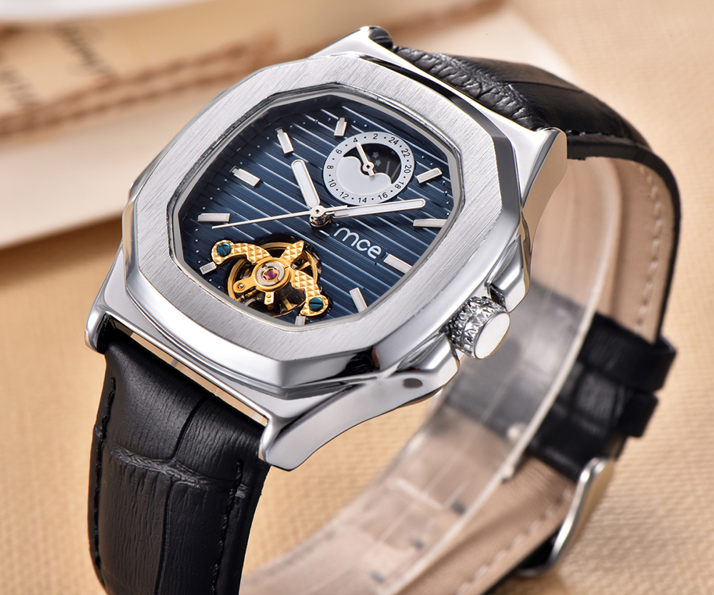 MCE Skeleton Men Watches Fashion Brand Square Leather Moon Phase Automatic Mechanical Wristwatch Mens Casual relojes hombre New mce automatic watches luxury brand mens stainless steel self wind skeleton mechanical watch fashion casual wrist watches for men