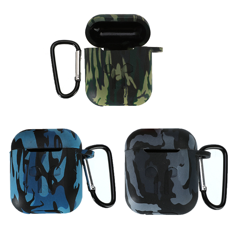 Camouflage Earphone Case For Airpods Silicone Skin Case Shockproof Protector Cover With Carabiner For Apple Airpods Accessories