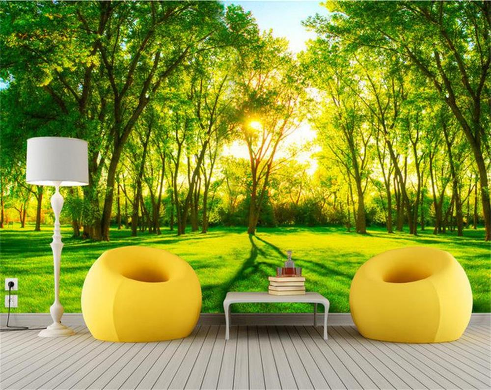 popular forest wall murals wallpaper buy cheap forest wall murals 3d room wallpaper custom mural non woven wall sticker green forest scenery sunshine painting photo