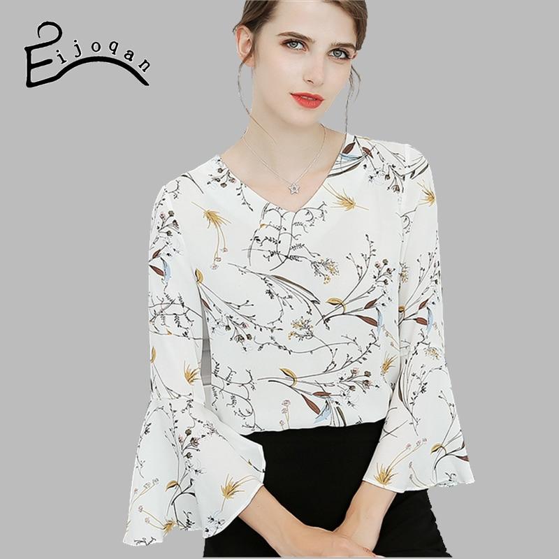 570b2cf18fd ... шифон рубашка с принтом Блузка c653 · Eijoqan 2018 Новый сезон   весна–лето тонкий моды Для женщин одежда расширяющимся рукавом v
