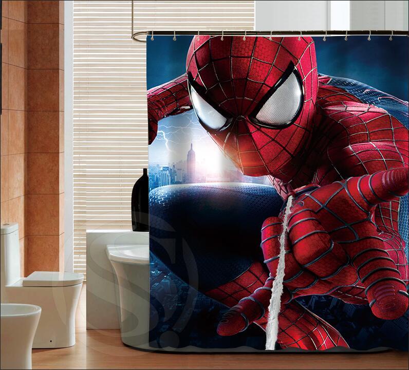 Popular Spiderman logo moda personalizada Cortina de Ducha ...