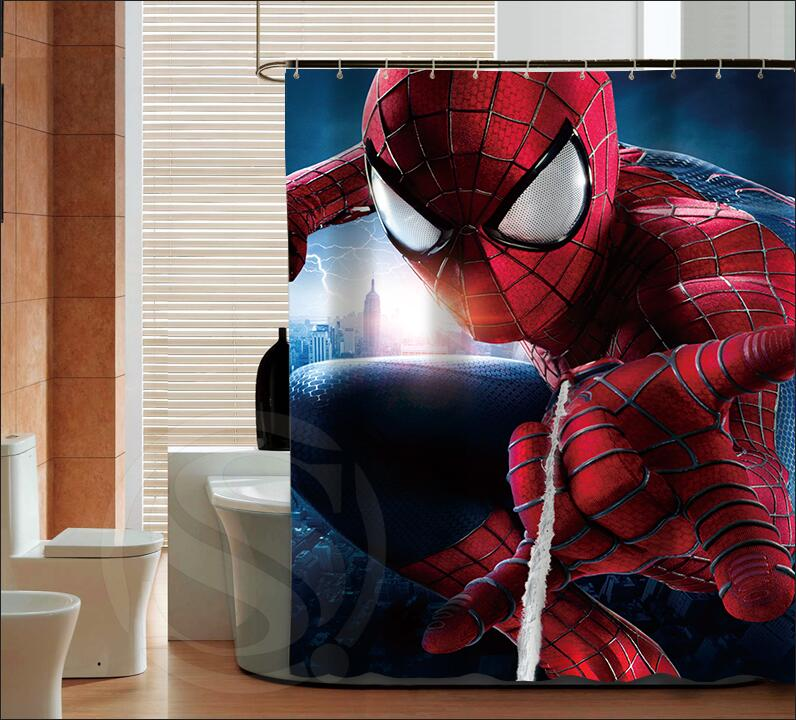 Online buy wholesale spiderman curtains from china for Spiderman bathroom ideas