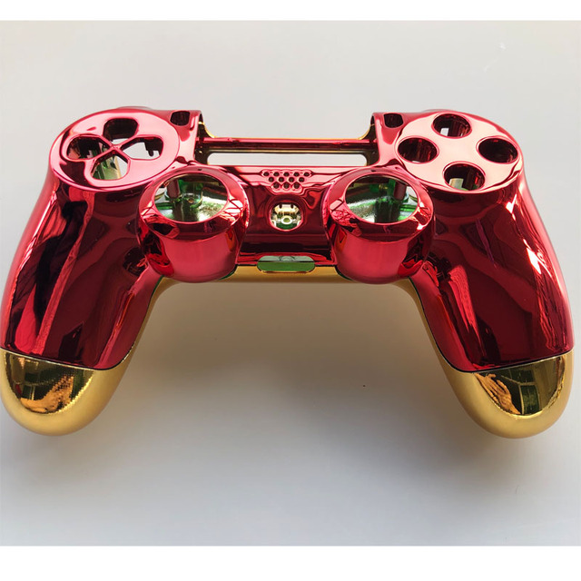 Chrome Plating Rood Voor Shell Golden Cover Case Voor PS4 Pro Jdm 040 Jds 040 Playstation 4 Pro V2 gen 2 Controller Vervangen