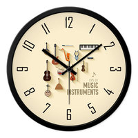 12 Cartoon Kids Round Quiet Sweep Movement Wall Clock, Black Frame and Black Hands, Music Instruments Background for Bedroom Li