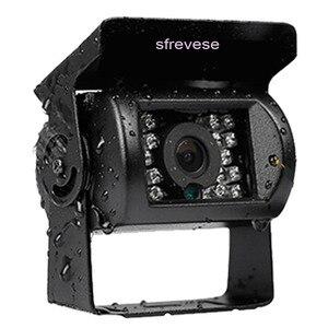 """Image 3 - 4x 4pin 18 led ir visão noturna invertendo estacionamento backup câmera + 9 """"lcd 4ch split monitor para ônibus caminhão motorhome 12 v 24 v"""