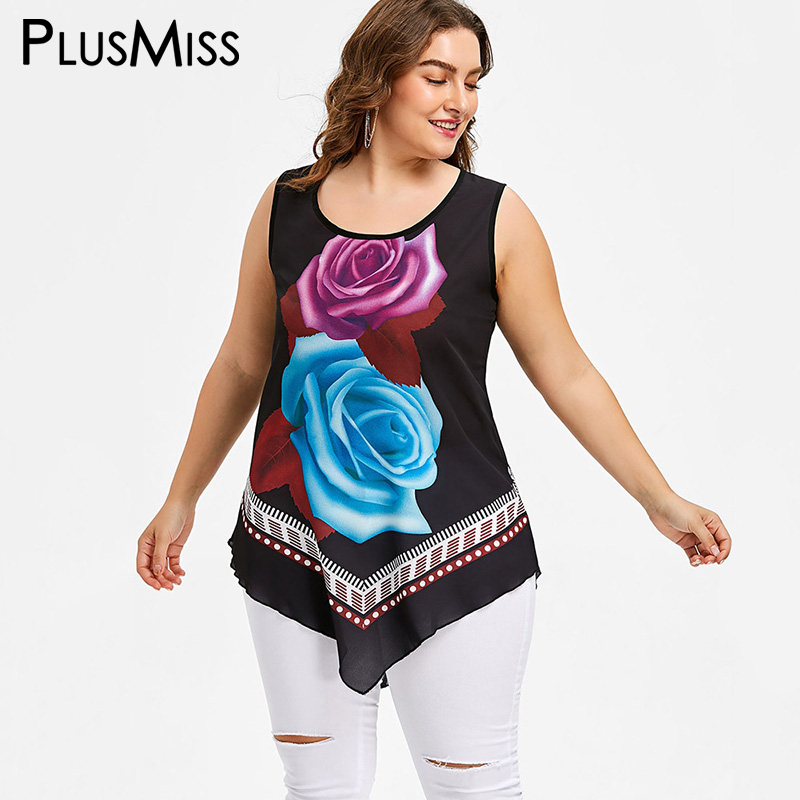 PlusMiss Plus Size 5XL 4XL Summer 2018 Flower Print Asymmetrical Chiffon   Tank     Tops   Women Big Size Boho Beach Vest Ladies   Tops