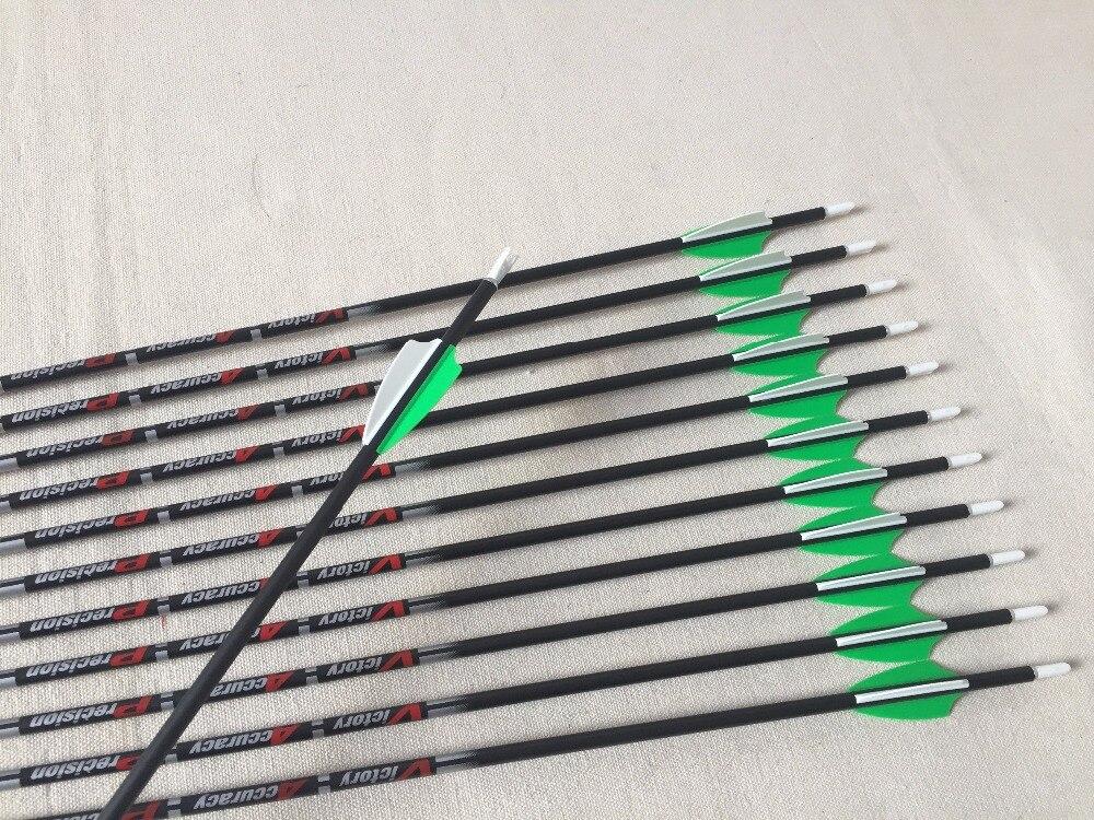 12pcs Archery pure carbon arrow shaft ID4.2mm sp400-900 for Recurve Bow Arrows