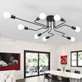 Luzes de Teto Para Casa Iluminação Luminária do vintage Vários Haste de Ferro Forjado Lâmpada Do Teto E27 Lâmpada Sala Lamparas De Techo