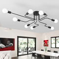 Vintage Ceiling Lights For Home Lighting Luminaire Multiple Rod Wrought Iron Ceiling Lamp E27 Bulb Living Room Lamparas De Techo