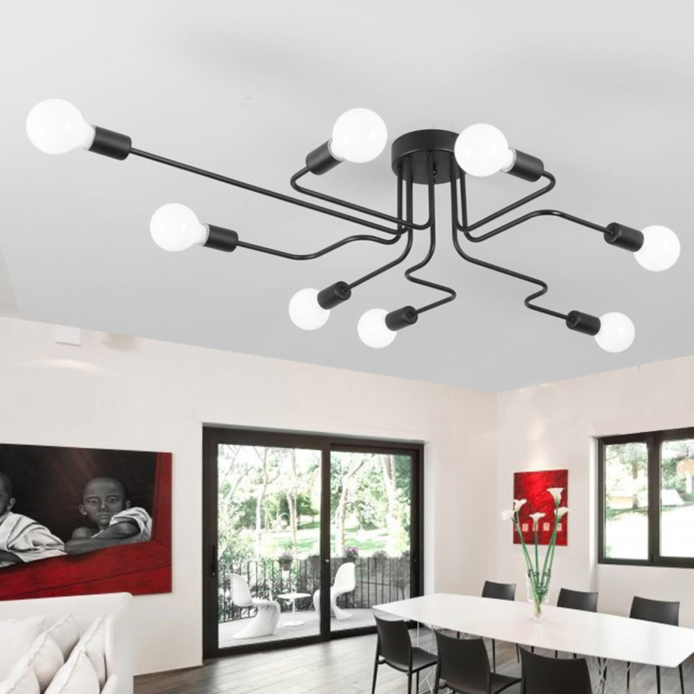 Vintage Ceiling Lights For Home Lighting Luminaire Multiple Rod Wrought Iron Lamp E27 Bulb Living Room Lamparas De Techo