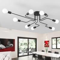 Vintage Ceiling Lights For Home Lighting Luminaire Multiple Rod Wrought Iron Ceiling Lamp E27 Bulb Living