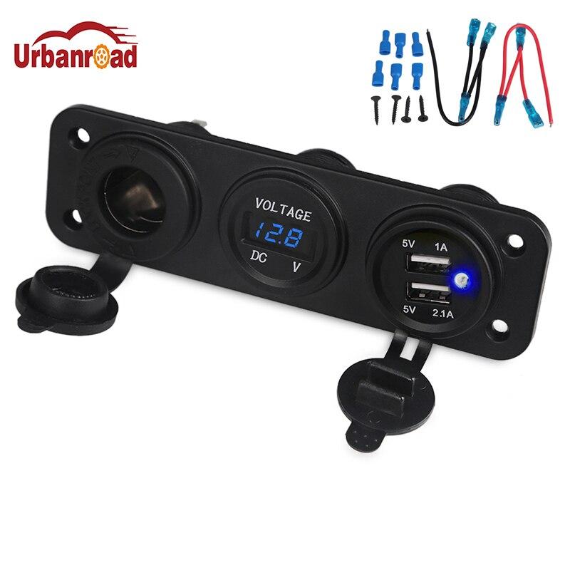 Urbanroad 3 Trou Panneau Prise D'alimentation Allume-cigare 12 V 24 V 4.2A Bleu LED Numérique Voltmètre Double USB Chargeur Pour téléphone