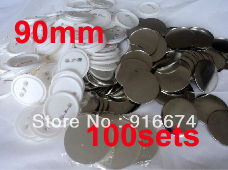 Fast Free shipping Discount  90mm 100 Sets Professional Badge Button Maker Pin Back Pinback Button Supply Materials free shipping new pro 1 1 4 32mm badge button maker machine adjustable circle cutter 500 sets pinback button supplies