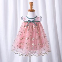 Childrens Wear Baby Princess Dress 2019 Summer New Girls Embroidered  1-4y Pink Party Lace Printed Clothes