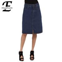 Elegdream Plus Taille S à 5XL Poches Jeans Jupes Femmes Mode a-ligne Denim Jupes pour Dames Grande Taille Vêtements XXXXXL XXXL XXL