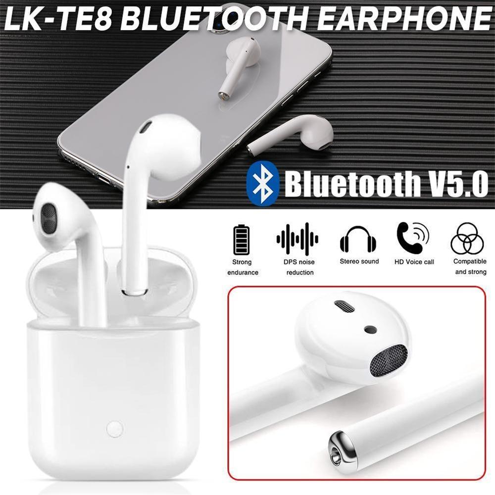 LK-TE8 СПЦ двойной мини Bluetooth 5,0 Touch наушники беспроводной Air стручки Headest с зарядки Box Mic для iPhone Android