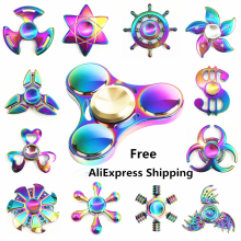 Rainbow brass Hand Spinner Fidget Spinner Stress Cube Hand Spinners Focus And ADHD EDC Anti Stress Titanium Alloy  Tri -spinners